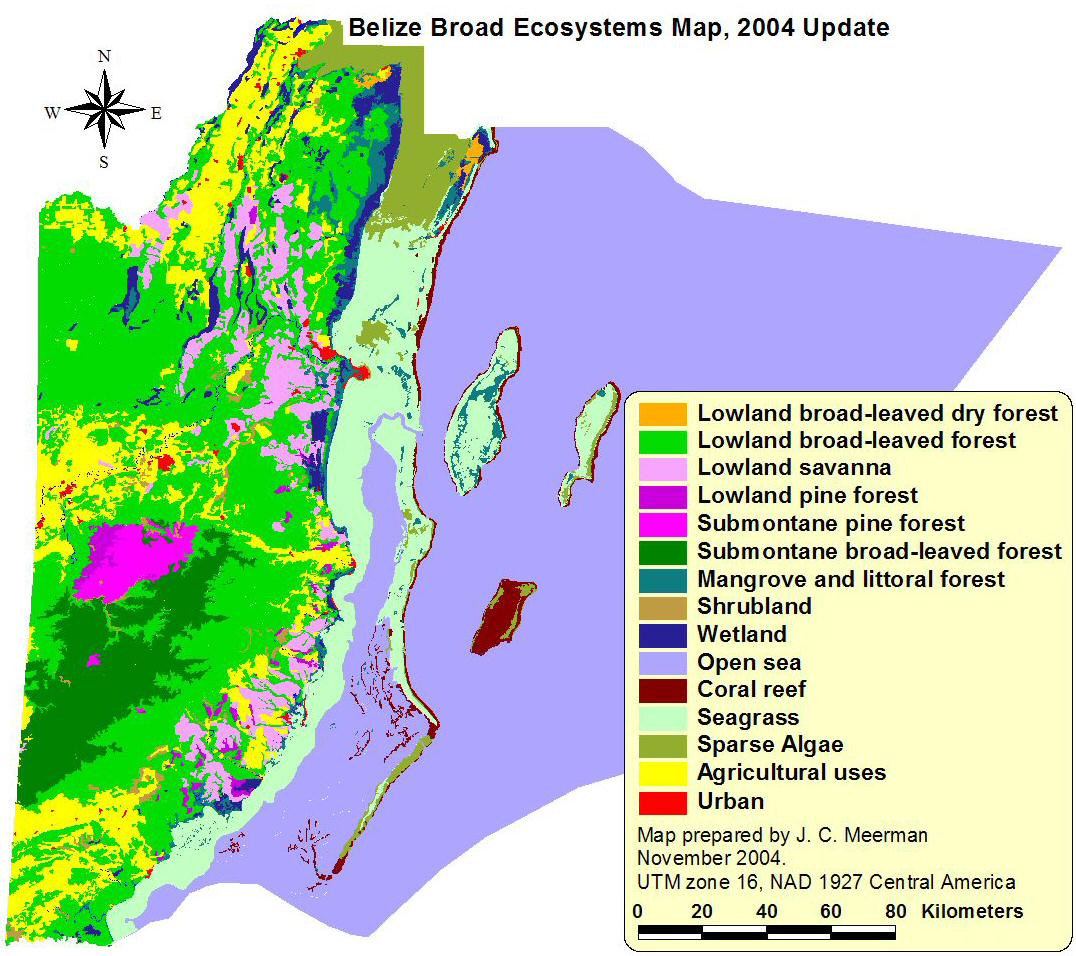 Biodiversity In Belize Ecosystems Map - Belize map