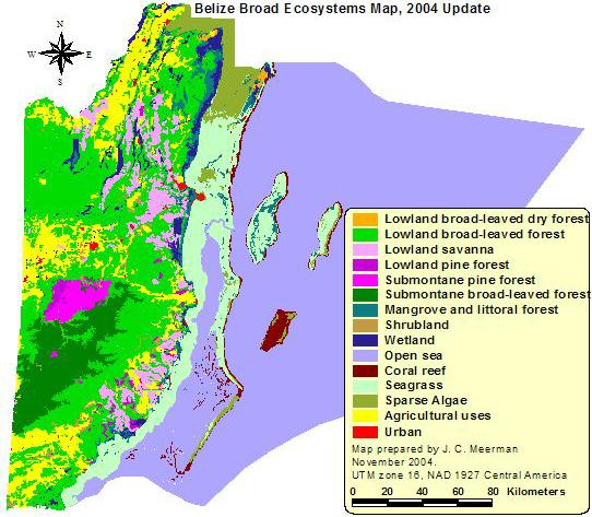 Belize Ecosystems Map. Click for larger image